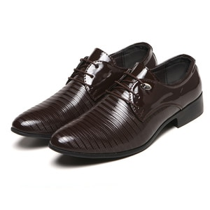 Fashion Men Business Leather Shoes New Casual Pointed Toe Lace-Up Dress Shoe Male Wedding Quality PuLeather Suit Shoes