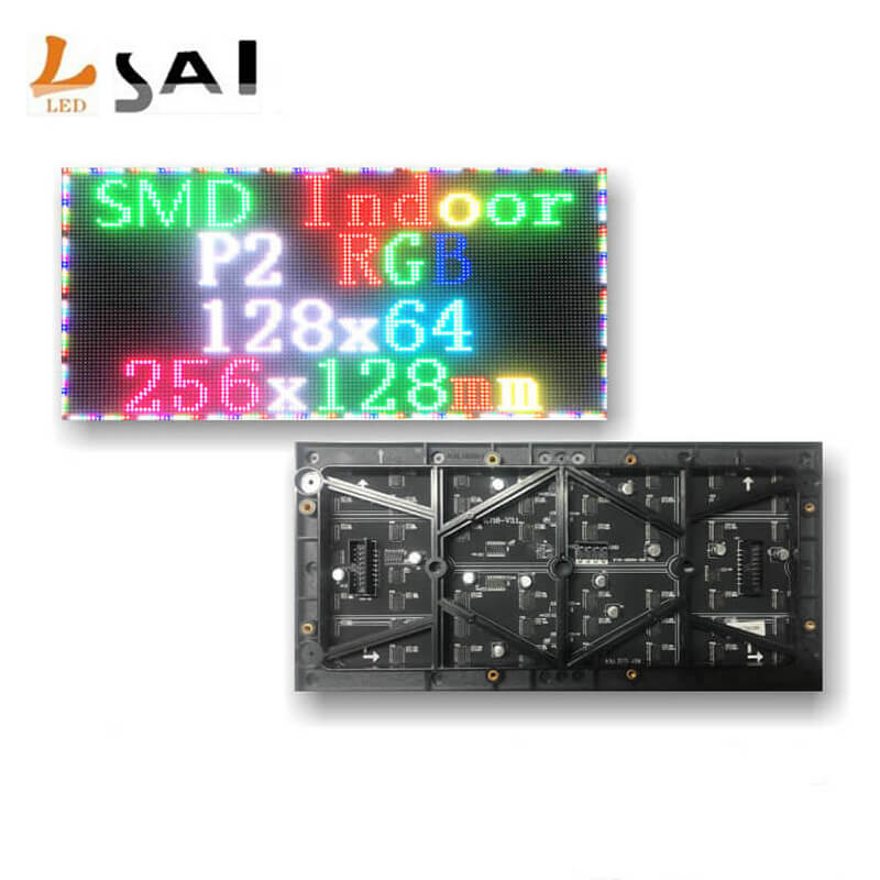 LianSai Small Pitch 2mm P2 Indoor SMD RGB 1/32 Scan 256x128mm 128x64pixels Full Color Video LED Screen Module High Resolution