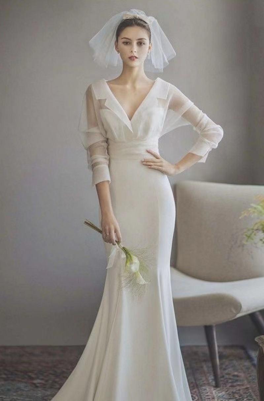 2021 تصاميم جديدة أوف وايت قطعتين كم طويل ساتان سويب تراين حورية البحر كوريا فستان الزفاف فستان العروس Vestidos De Novia