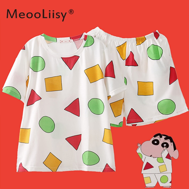 MeooLiisy Pijama Sin Chan Women's Pajamas Woman Summer Cotton Pajamas Sets Home Clothes for Young W