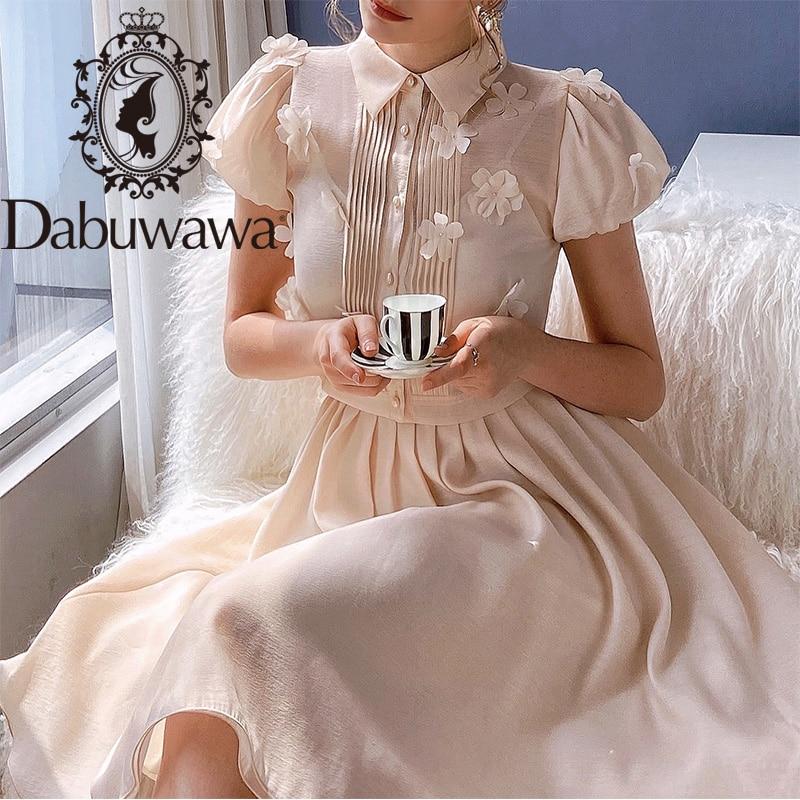 Dabuwawa النمط الفرنسي يزين فستان صيفي المرأة نفخة الأكمام بدوره إلى أسفل طوق واحدة الصدر فساتين خمر السيدات DO1BDR015