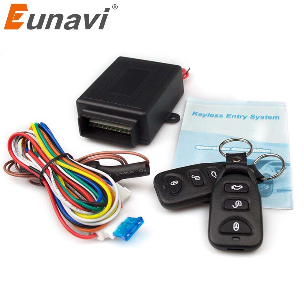 Eunavi 12V New Universal Car Auto Remote Central Kit Door Lock Locking Vehicle Keyless Entry System