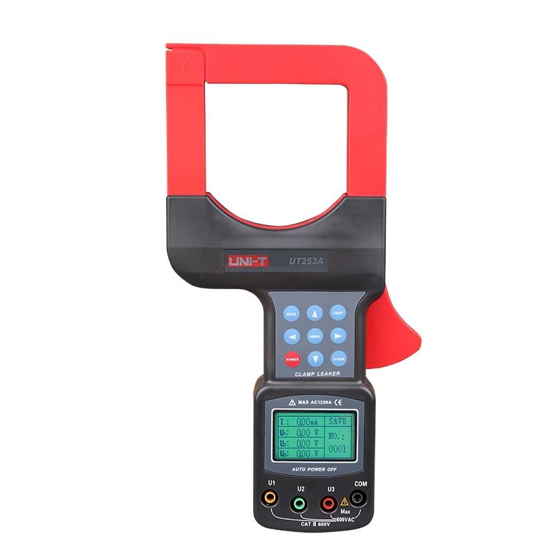 UNI-T UT253A 1200A, pantalla LCD de rango automático, mordazas grandes, medidor de abrazadera de corriente de fuga, medidor de voltímetro de fugas con retención de datos RS232