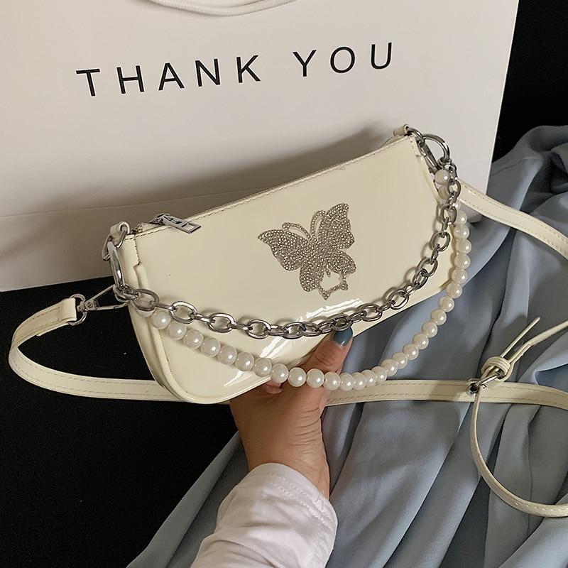 Baguette de mujer de mariposa de diamante, bolsos de cuero de moda, cadena de cuentas, bolsos de hombro tipo bandolera de mujer, bolso de noche morado