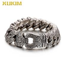Xukim Jewelry stainless steel  bracelet men chain link bangle 210mm sliver  bracelet 2020 punk jewelry  dropshipping KBO218