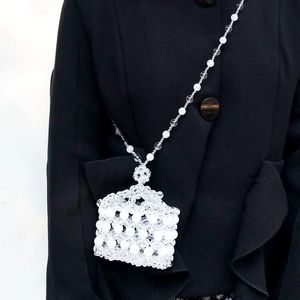 10x8CM Ice Cracked Crystal Crown Small Box Necklace Bag Beaded Bag a5941