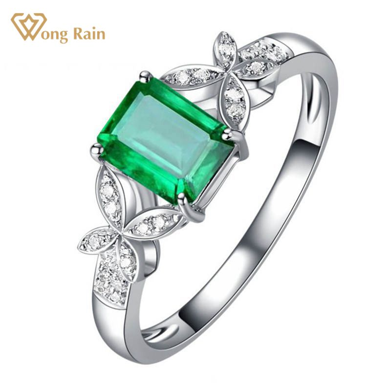 Wong Rain 18K Solid Gold 0.91 CT Natural Emerald Emerald Cut Gemstone Wedding Engagement Rings Customized Rings Fine Jewelry