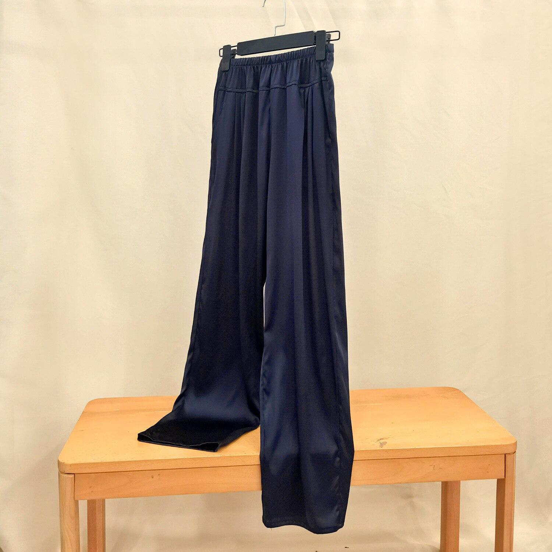 100 التوت الحرير كريب الساتان عادي الحرير بنطلون المرأة جيب سراويل تقليدية فضفاضة الحجم