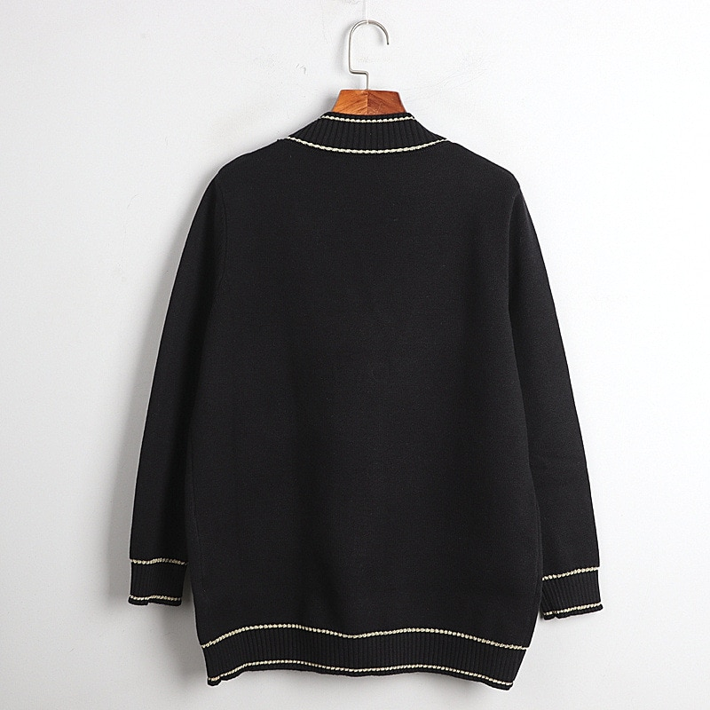 1128  2020  Autumn Free Shipping V  Neck Sweater Long Sleeve Kint Black White  Beads Fashion Womens Clothes  Pullover   DL enlarge