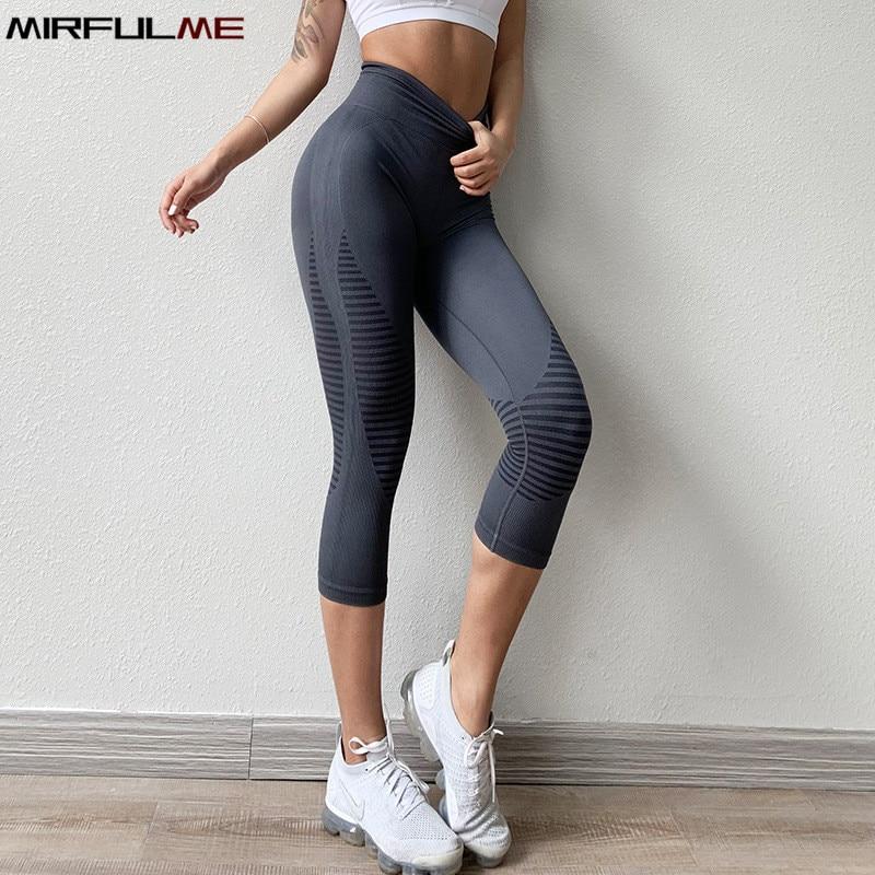 Летние бесшовные спортивные Леггинсы для женщин, штаны для йоги, эластичные капри в полоску, 3/4 штаны для бега, укороченные Леггинсы для спортзала, женские колготки для фитнеса