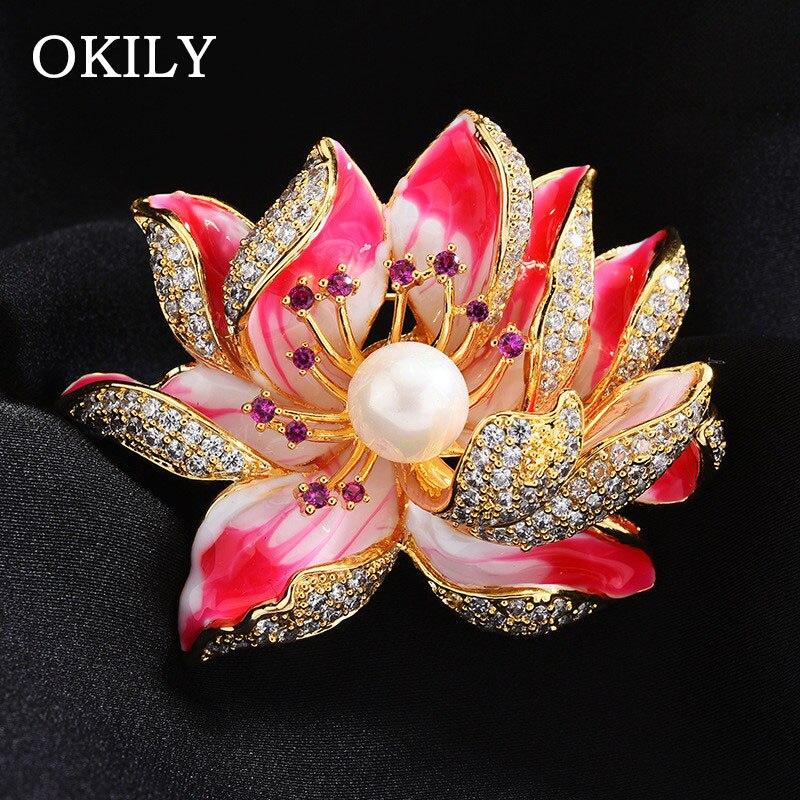 Estilo de luxo esmaltado pétala micro pave zircon rosa e azul flor de lótus broches pérola flor de lótus pinos para o presente do dia das mães