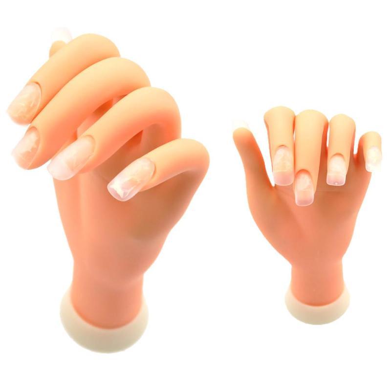 1 Uds. Maniquí de mano para entrenamiento de uñas, modelo de plástico suave para práctica de manicura, Manual Flexible, de plástico suave, herramienta de entrenamiento