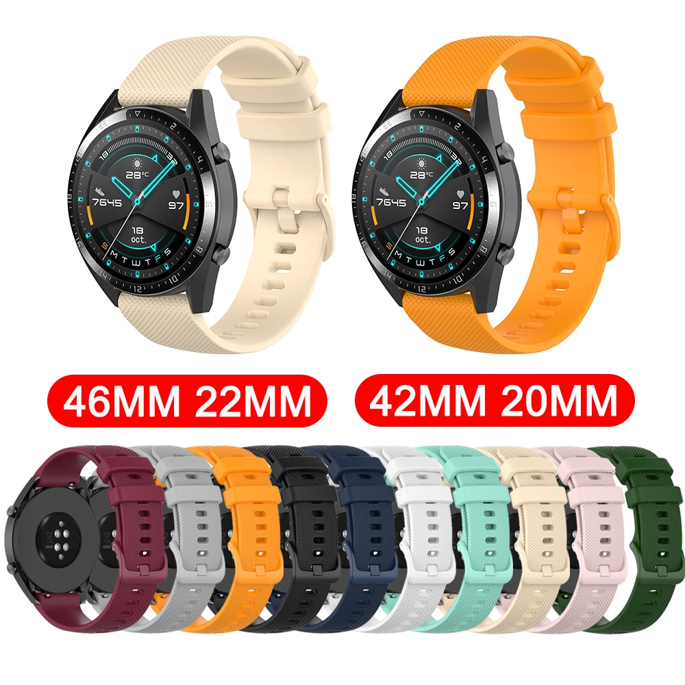 20mm/22mm Smart Watch Strap For HUAWEI Watch GT2 42mm/46mm Silicone Replacement Wrist Band For Honor Magic Bracelet Watch Band недорого