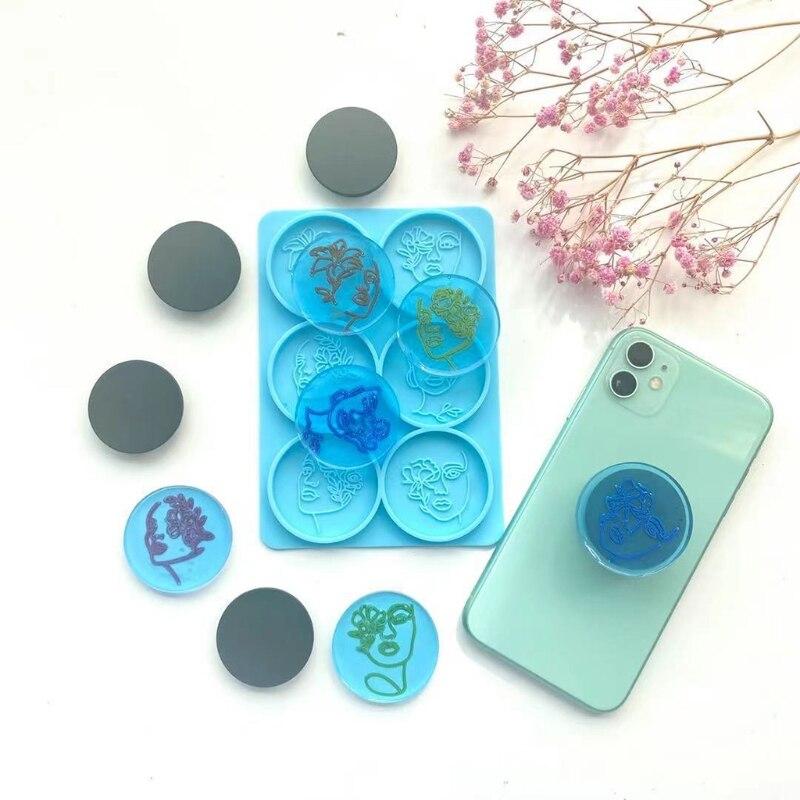 6, круглая форма, женские головки мобильный телефон держатель эпоксидная смола, форма-держатели для телефонов, украшения литье силиконовая ...