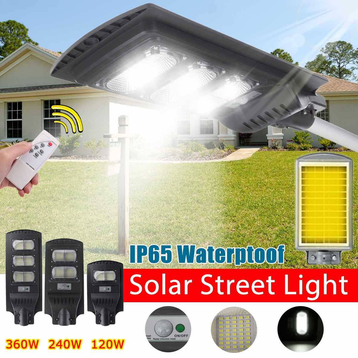 IP65 120W/240W/360W Negro/Gris, luz LED de pared, luz de calle Solar, Radar de energía Solar, Control de luz de movimiento