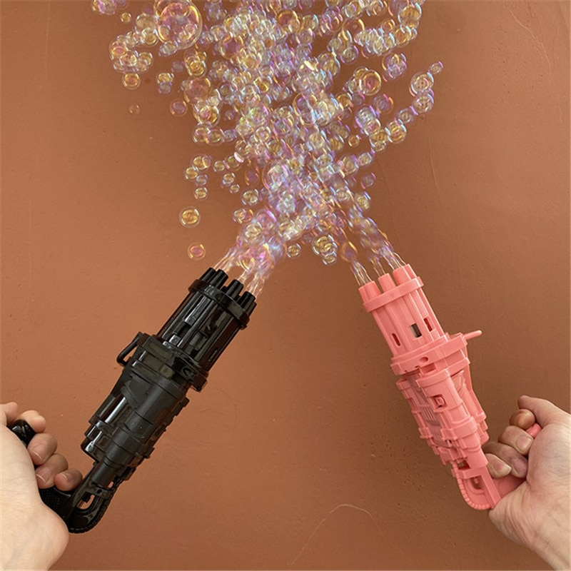 New Kids Gatling Bubble Gun Machine Toys Summer Automatic Bubble Blower Maker Gun For Children Toddlers Outdoor Wedding Bubble