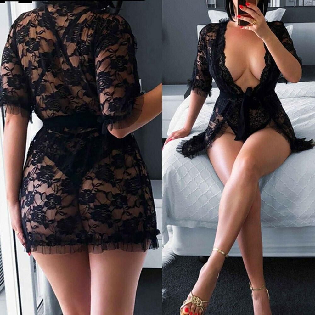 Hirigin Frauen Schlaf Kleid Sexy Dessous Spitze Nachthemd Babydoll Dessous Sommer Nachthemd Damen Bandage Tiefem V-ausschnitt Nachtwäsche