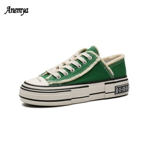 Designer Low Cut Women Canvas Sneaker Patchwork Student Vulcanized Shoes Green Thick Heel Casual Sports Shoes Woman Platform New