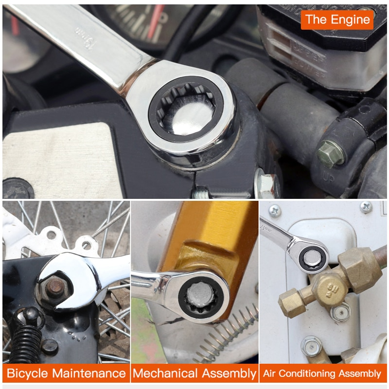 Купить с кэшбэком AIRAJ8-19mm Wrench Set Dual Purpose Ratchet Multifunction Adjustable Torque Wrench Universal Wrench Car Repair Tool With Storage