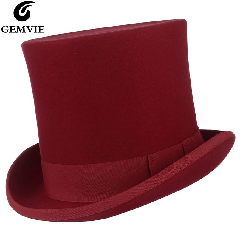 Gemfie 17cm 100% de fieltro de lana sombrero rojo disfraz Fedora gorro cilíndrico para mujer/hombre sombrero del mago del partido del Sombrero Loco