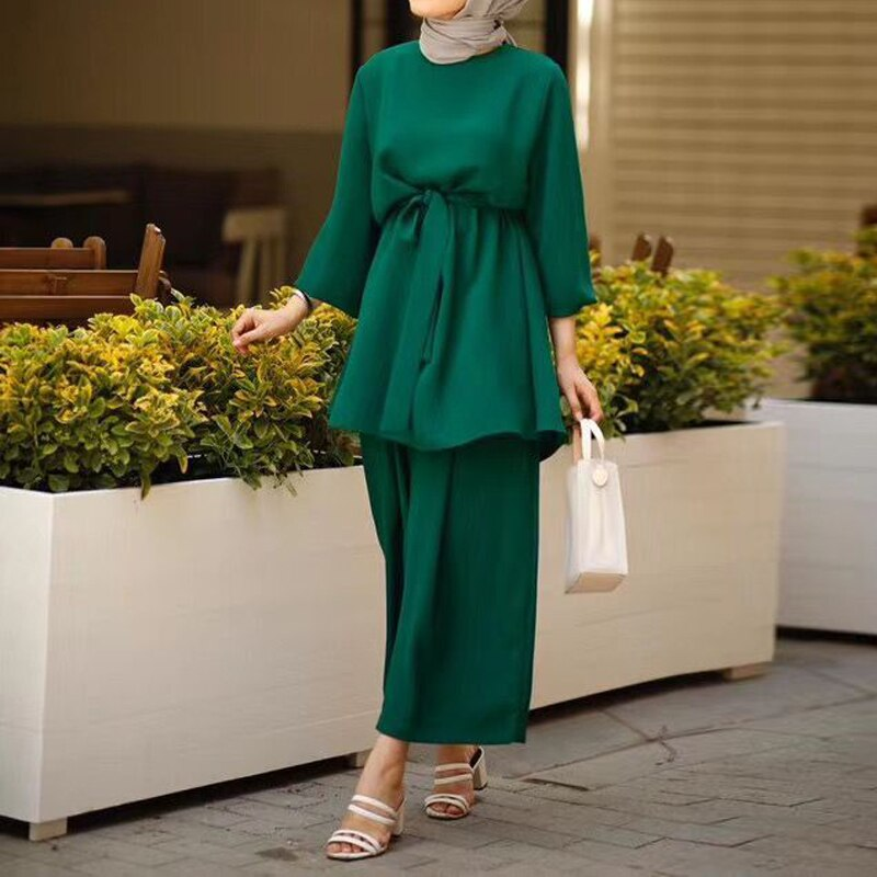 Eid Two-piece Muslim Sets Women Musulman Ensembles Abaya Turkye Tops Pants Vetment Femme Hijab Dress Abayas Islamic Clothing