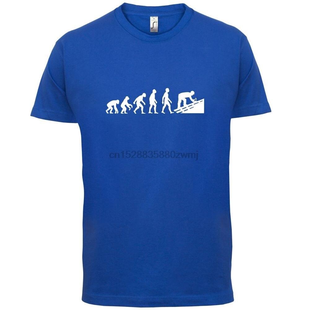 Evolución del hombre tejador-Camiseta para hombre-Tradesman Roofing - 13 camiseta de colores con dibujo para hombre Tops calientes de manga corta Camiseta para hombre