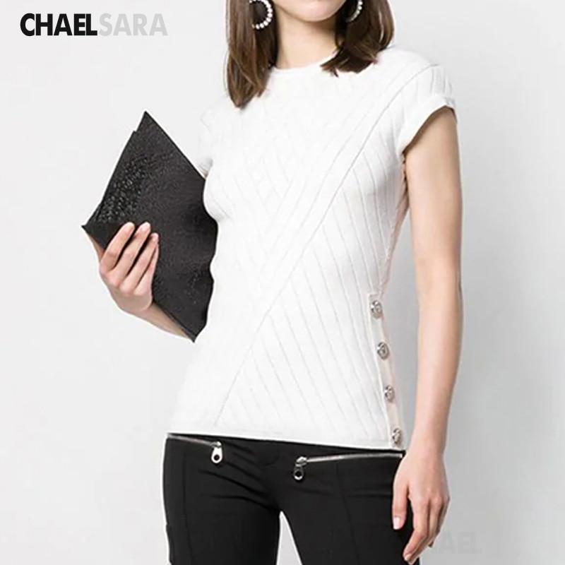 Camiseta blanca de punto fina, camiseta de manga corta con botones, camiseta informal lisa de verano 2020 para mujer, camiseta femenina