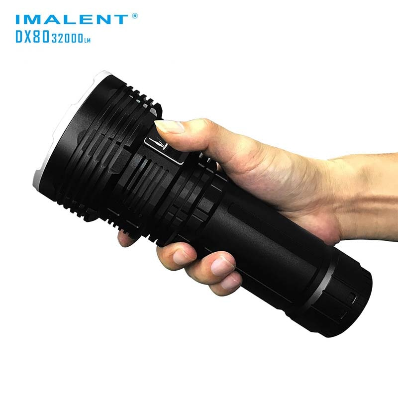 super torch search light imalent dx80 8 cree xhp70 max 32000 lumen beam distance 806 meter led flashlight for hunting IMALENT DX80 8xCREE XHP70 32000 Lumens, High Performance, Search Outdoor Light, Direct Recharge LED Flashlight