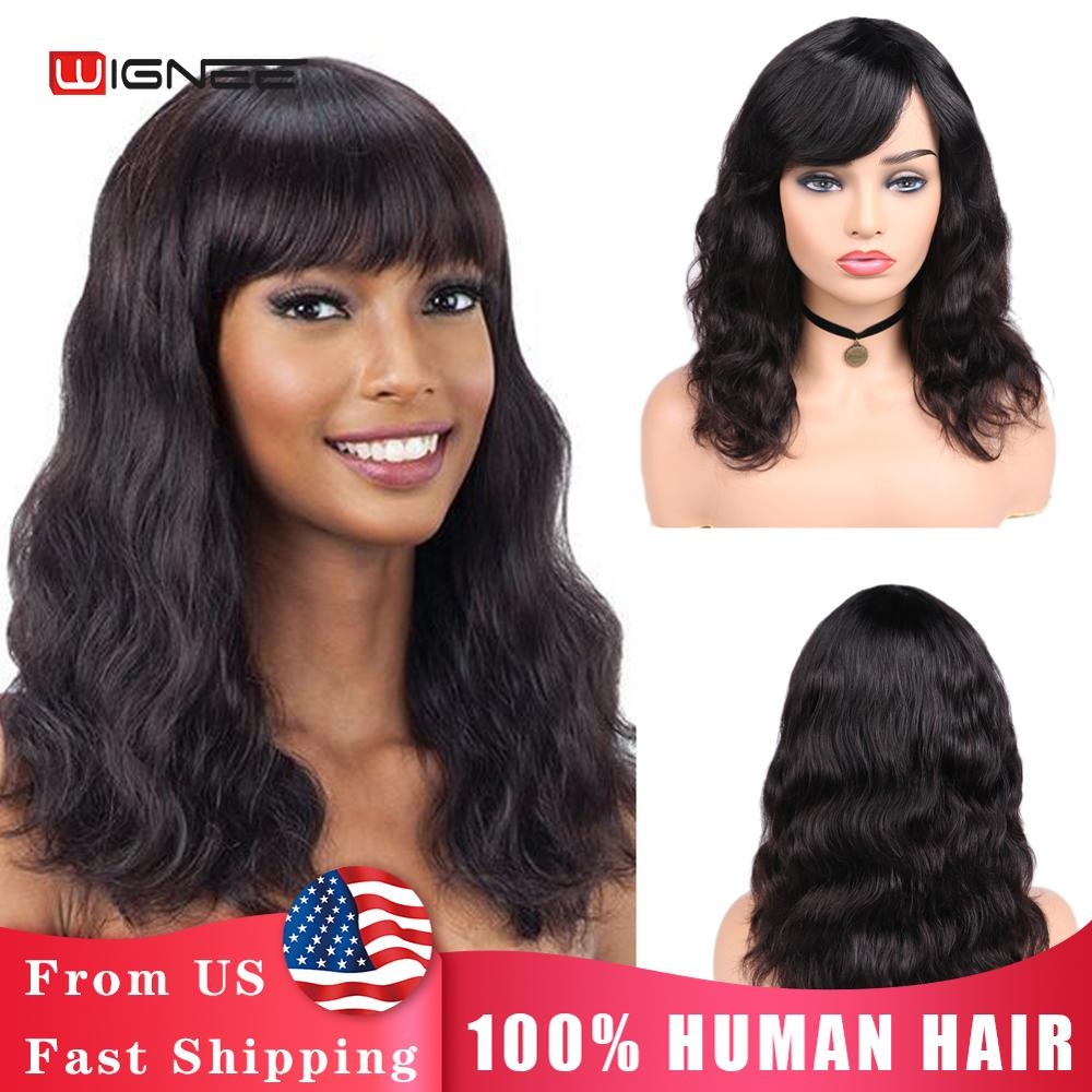 wignee natural wave lace front short human hair wigs for black women 150% density remy hair ombre green pink 613 swiss human wig Wignee Natural Wave Human Hair Wigs With Free Bangs For Women Remy Brazilian Hair 150% Density Glueless Wavy Human Wigs No Lace