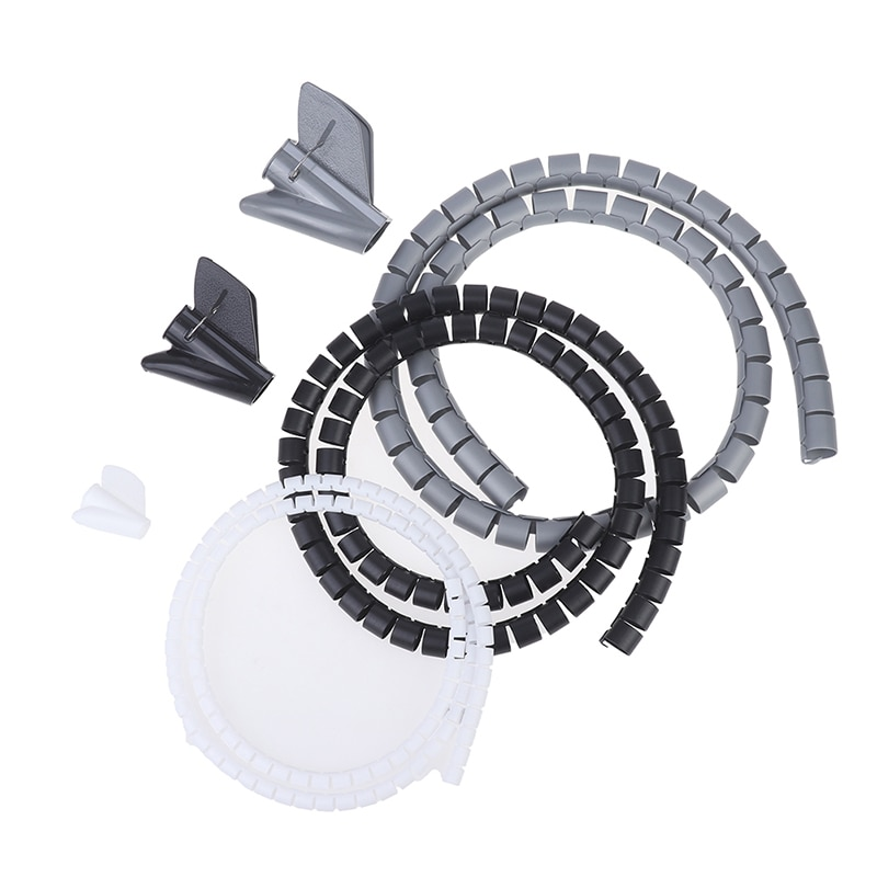 1Pc 1M Flexible Spiral Cable Organizer Storage Pipe Cord Protector Management Cable Winder Desk Tidy Cable Accessories