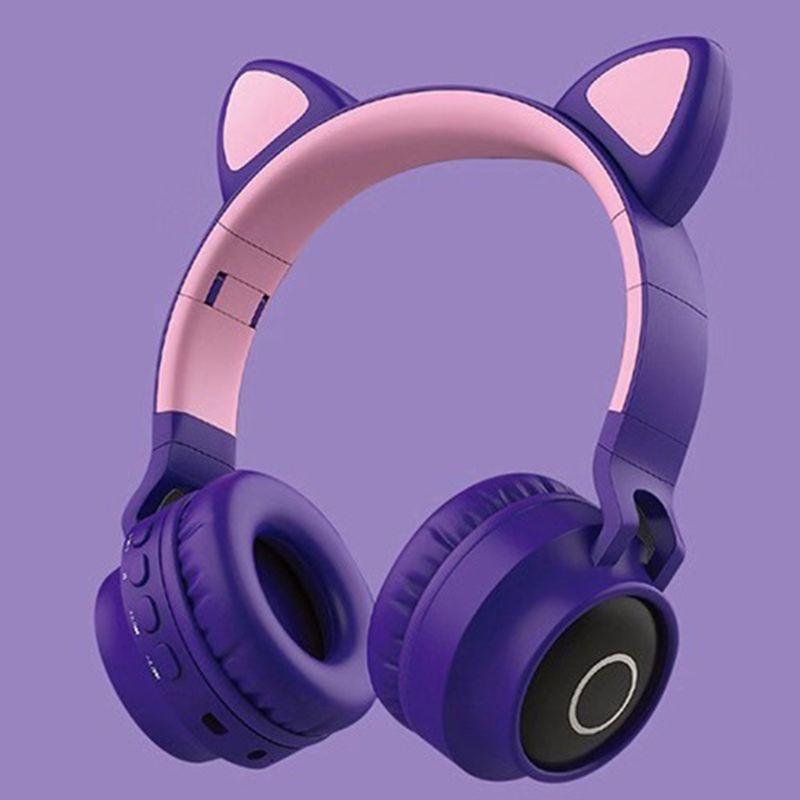 Foldable Cat Ear Headset LED Lights Wireless BT Music Headphones for Kids Girls E65A