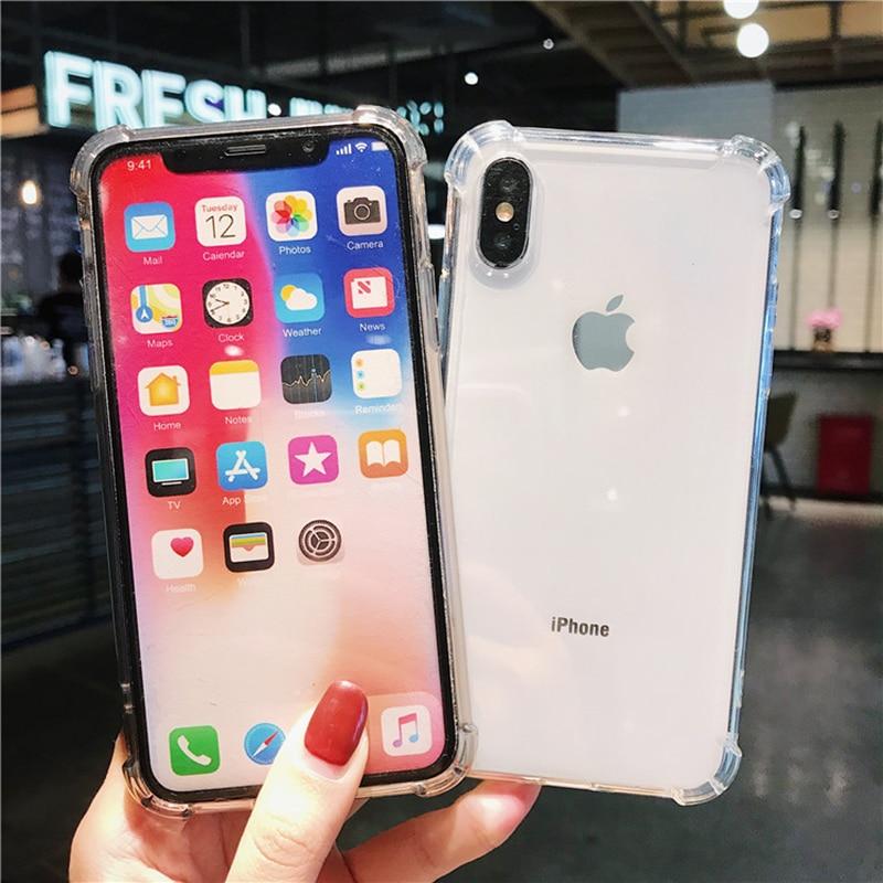 جراب هاتف شفاف مقاوم للصدمات من البولي يوريثان لهاتف 12 11 برو XS Max SE XR X 8 7 6 Plus غطاء خلفي رقيق من السيليكون الناعم