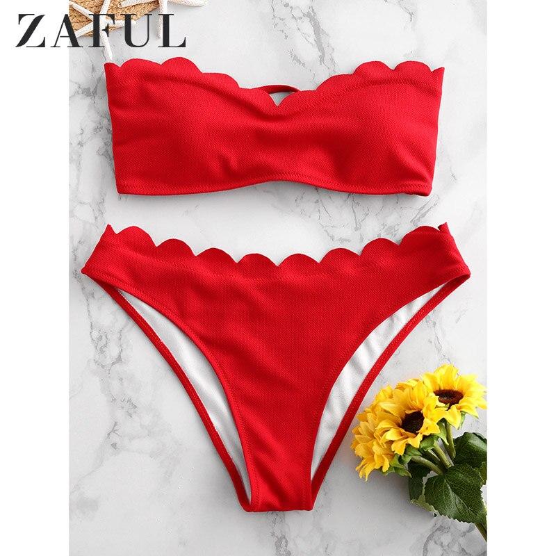 ZAFUL Bikini 2018 diseño de lazo Bikini festoneado Hem Bandeau traje de baño de mujer traje de baño de playa Biuqnis