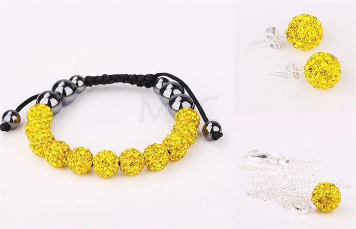Grande desconto jóias frete grátis 10 pçs/lote micro pave disco bola de cristal conjunto pulseiras + brinco colar gurt