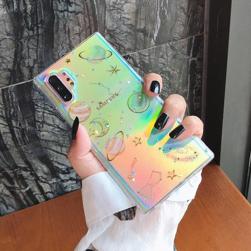 Funda de teléfono de silicona con purpurina de dibujos animados, estrellas del arco iris, a prueba de golpes para Samsung S8, S9, S10 PLUS, S11E, Note 8, 9, 10, Pro y 11E, funda trasera transparente