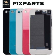 Testé 100% couverture arrière noir blanc étui pour iphone 4 S 4G 4 S arrière verre batterie porte boîtier pièces de rechange 4 couverture arrière