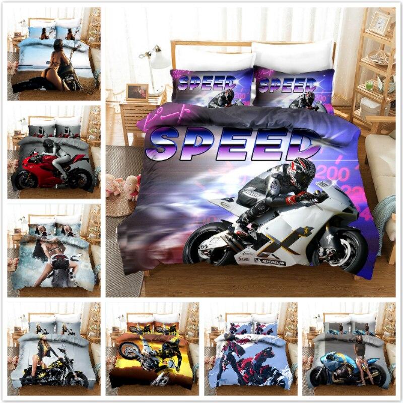 حاف الغطاء ثلاثية الأبعاد سباق الدراجات النارية الجمال مثير داخلية فتاة رالي الفراش مجموعات الملك الملكة كامل التوأم حجم 2/3 قطعة المخدة
