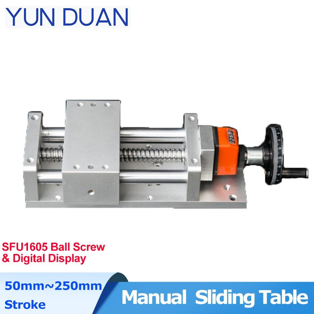 وحدة خطية SFU1605 ، 100 مللي متر ، 200 مللي متر ، طاولة انزلاق يدوية ، شاشة رقمية وغطاء غبار