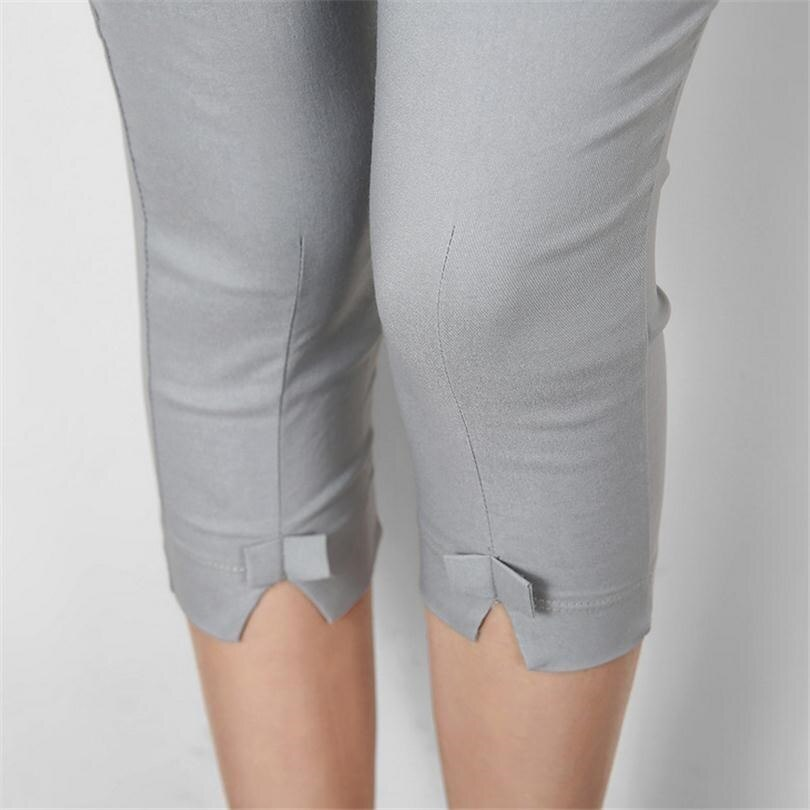 Summer Women Pants Plus Size Slim Pantalones Mujer Stretch Capris Calf Length Pencil Leggins Crops Female Pantalon Mujer K088