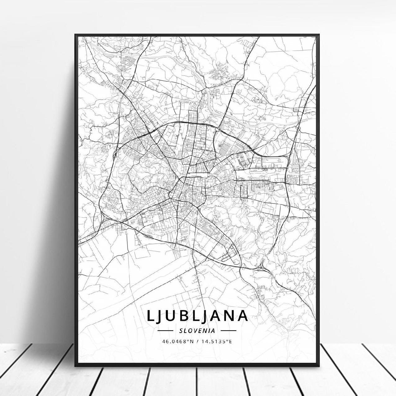 Ljubljana Maribor Slovenia  Canvas Art Map Poster