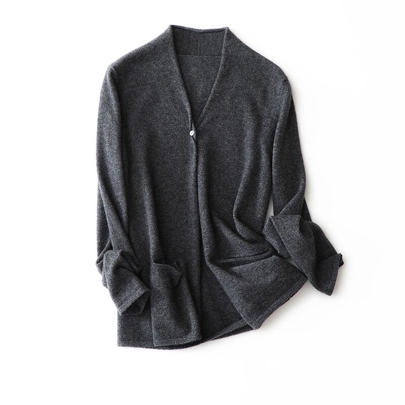 2020 Autumn New V-neck 100% Cashmere Sweater Soft  Cardigan Sweaters Coat Knitted European and American Style Women Tops enlarge