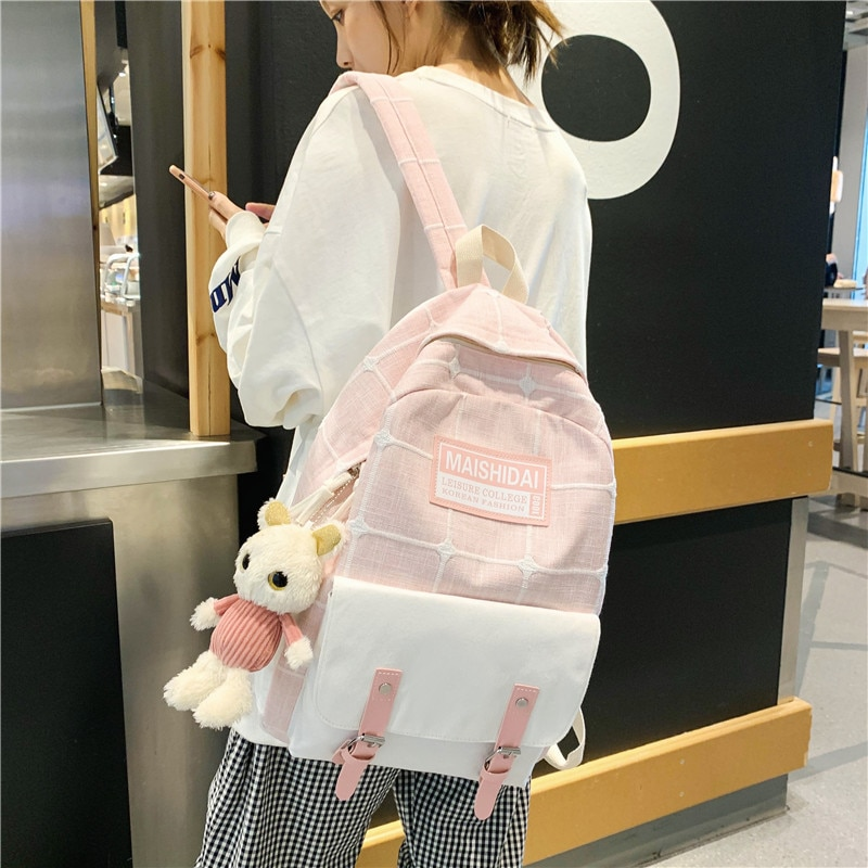 Mochila feminina lazer lona feminina mochila sacos de escola para adolescentes meninas estilo preppy estudante bagpack escola do ensino médio 2019 novo