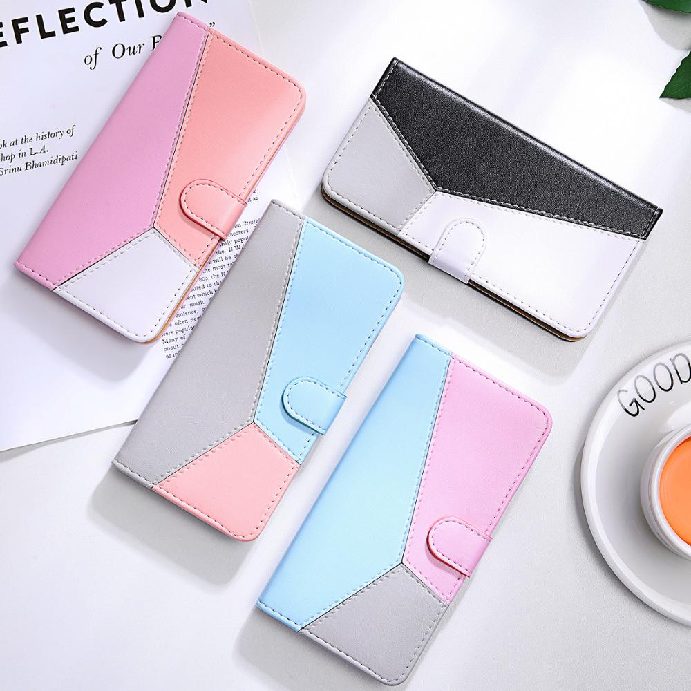 Splicing Flip Leather Wallet Case for Xiaomi Redmi 7A Case Redmi 7 4X 6A Note 4 5 6 7 8 Pro 4X Mi A3