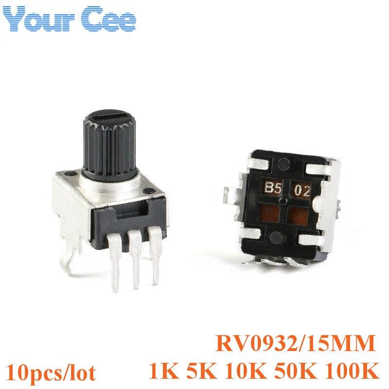 10pcs Rv09 15 milímetros Eixo Vertical 50 10 5 1k k k k 3pin 100k 0932 Resistor Ajustável Potenciômetro Selo 102 502 103 503 104