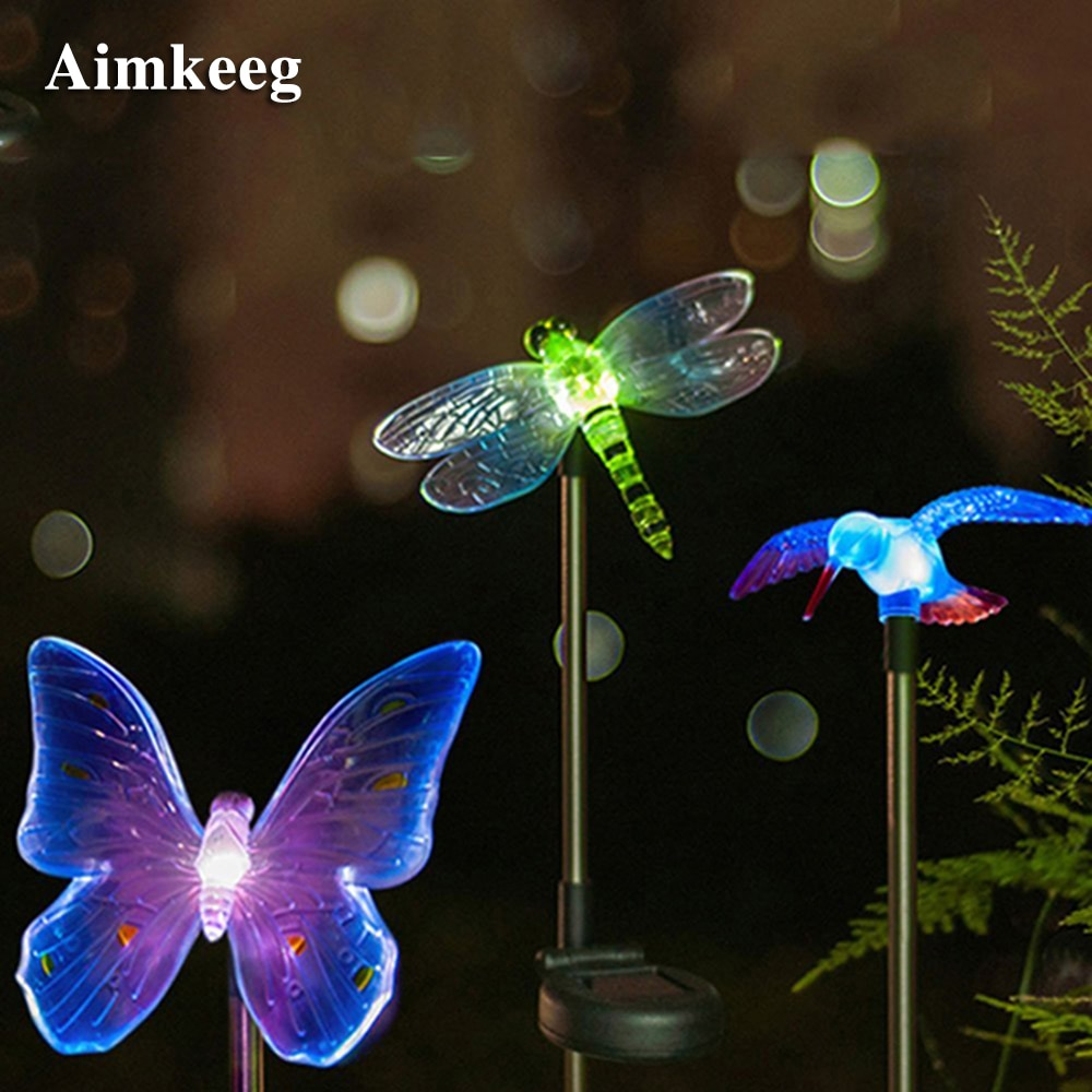 Luz LED Solar para jardín RGB para exteriores, lámpara Solar de mariposa, pájaro, Libélula, decoración para el hogar, jardín, iluminación
