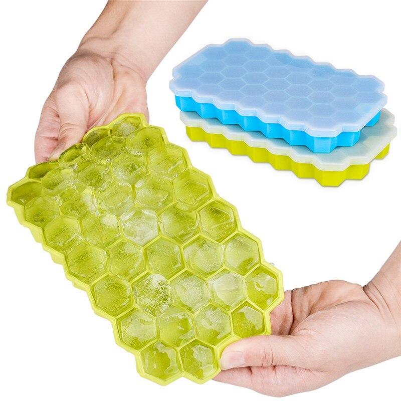2 упаковки сотовых лотков для кубиков льда Силиконовые формы для кубиков льда с крышками гибкие 74 кубов BPA бесплатно для виски Коктейльные ш...
