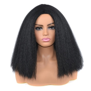 Synthetic Yaki Straight Bob Wig Afro Kinky Curly Wigs High Temperature Fiber Hair Medium Length Wigs For Black Women