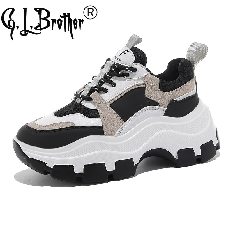 Zapatillas gruesas informales para mujer 2020, Zapatillas deportivas para mujer, Zapatillas con plataforma de 7cm, Zapatillas deportivas para mujer