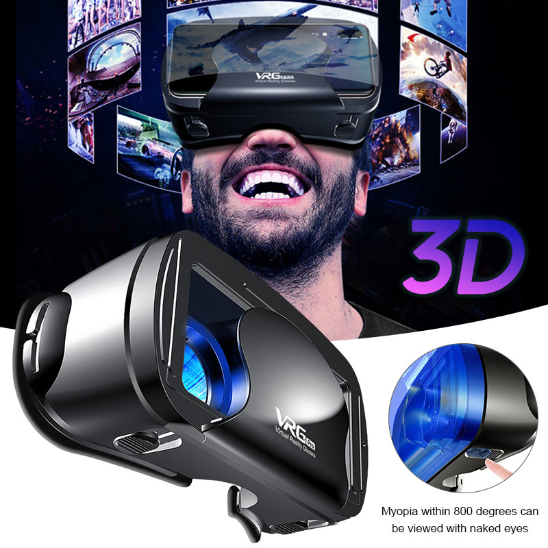 Myopia Can Use 5-7 inch VRG Pro 3D VR Glasses Virtual Reality Full Screen Visual Wide-Angle VR Glasses Box For iPhone XiaoMi