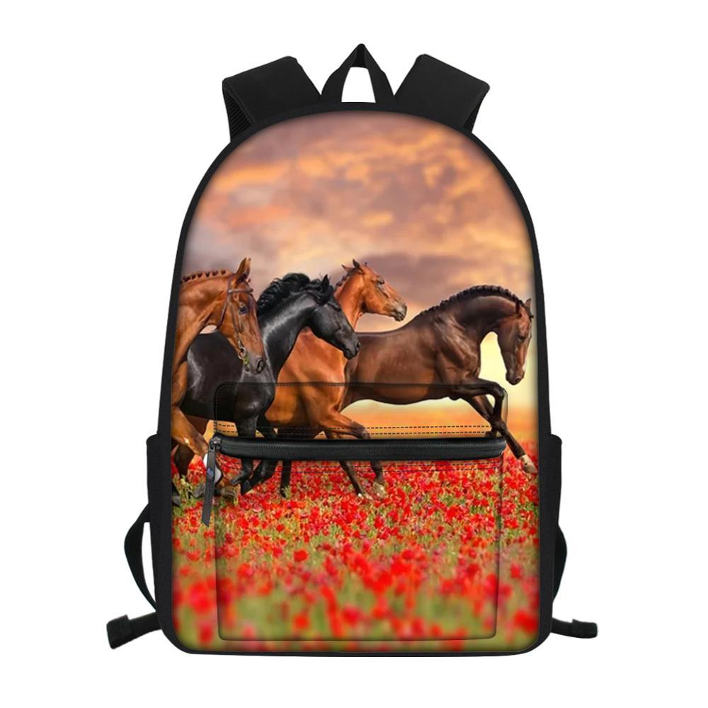 Модный детский маленький холщовый рюкзак с цветочным рисунком лошади, рюкзак для школьников и учебников, детские дорожные рюкзаки